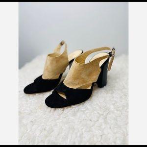M. Gemi Black and Tan Suede Swingback Sandal Heels